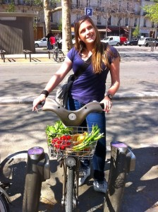 Anna Brones shopping the Parisian markets by Velib bike share.